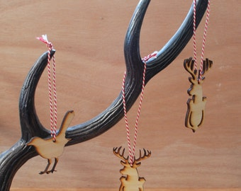 Animal Christmas decorations, laserprinted Christmas decorations, deer, stag, blackbird, stocking stuffer