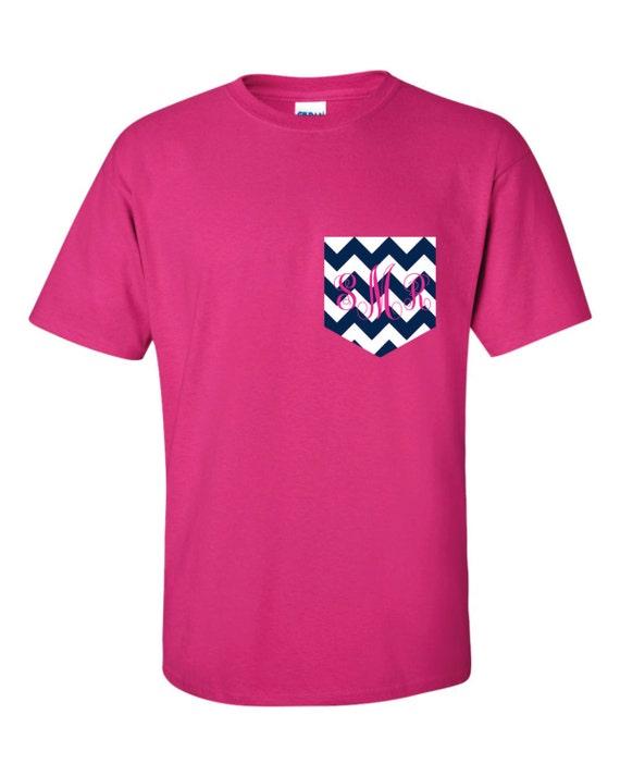 chevron monogram pocket tee t shirt tshirt by corndogtees