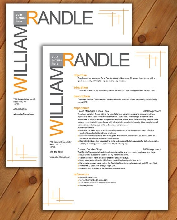 custom resume and cover letter template line pattern by
