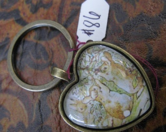 Peter Rabbit Heart Necklace Key Ring # 115