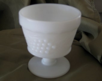 Desert  Anyone!  A beautiful pair of Vintage Milk Glass Sherbets