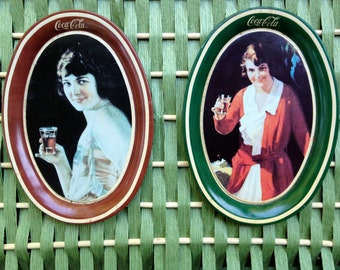 Coca Cola Coke 1920s Women ads, small trays (set of two)  issued April, December 1989, Red, Green