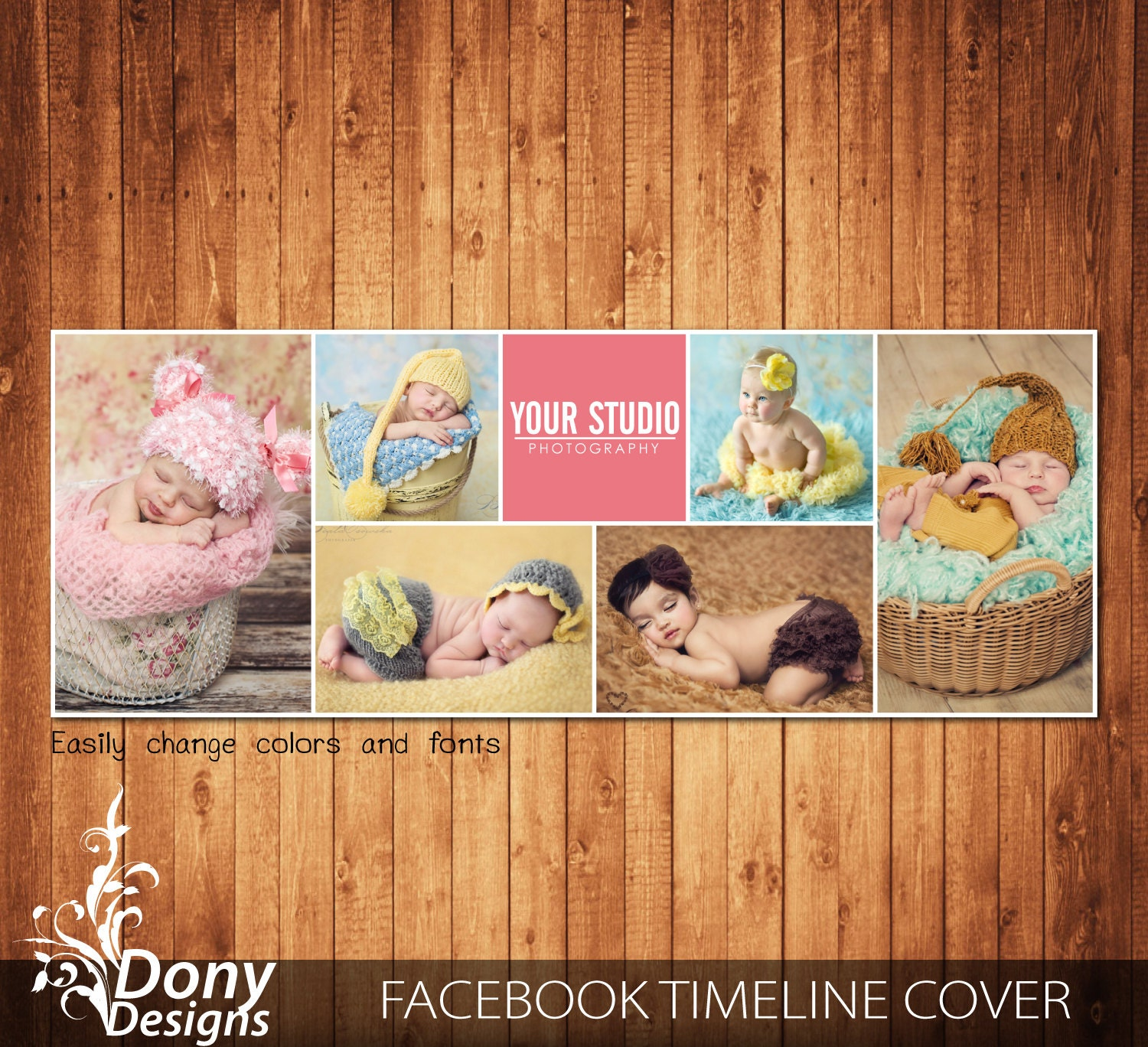 Facebook timeline cover template photo collage Photoshop