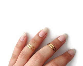 4 Above the Knuckle Rings - Plain Band Knuckle Rings, Matte gold thin rings - set of 4 midi rings, unique gift for her