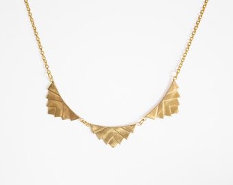 Chevron Brass Bib Necklace