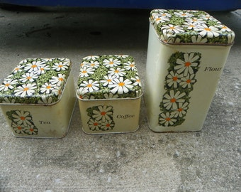 1960s Vintage Daisy Canisters