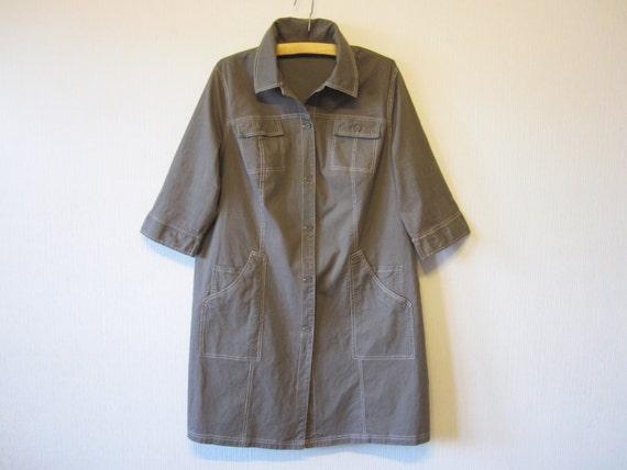 Khaki gray safari dress button up cotton shirt dress military for Khaki button up shirt
