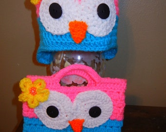 Kid's Owl Hat and Matching Purse - Sold separately and as a set