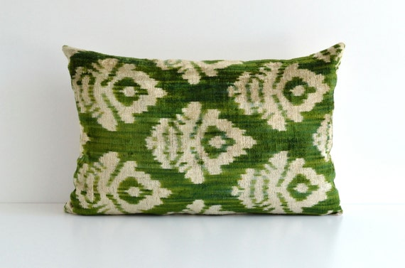 Green Ikat Throw Pillow : Green Ikat Pillow Green Decorative Throw Pillows Home And