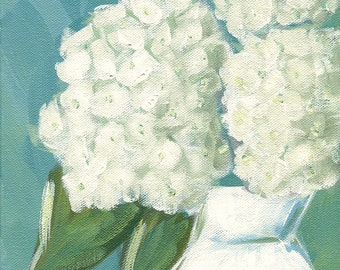 Visions of White - Fine Art PRINT - cottage chic, acrylic painting, hydrangeas by Lana Manis