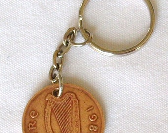 1986 2p Two Pence Irish Coin Keyring Key Chain Fob Birthday