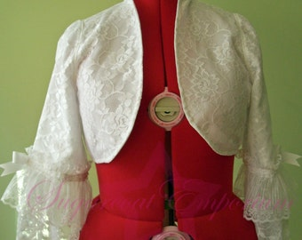 White Lace Overlay Bolero Shrug