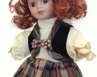 Vintage porcelain china head doll red haired girl collectible