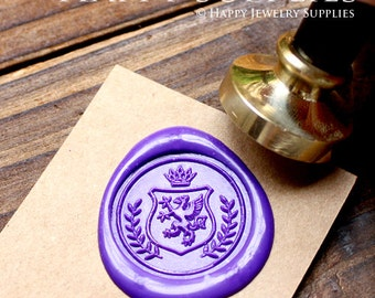 Buy 1 Get 1 Free - 1pcs Heraldic Dragon Wreath Crest with Crown Gold Plated Wax Seal Stamp (WS158)