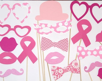 20 Piece Breast Cancer Awareness PhotoBooth, Photo Prop, Mustache, Lips, Pink, Hope, Pink Ribbons