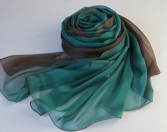 Brown and Green Gradient Color Silk Scarf - Green and Brown Silk Chiffon Scarf - AS54