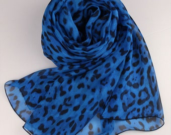Blue Silk Chiffon Scarf with Leopard Print - Leopard Printed Silk Chiffon Scarf - Animal Print Silk scarf -AS66