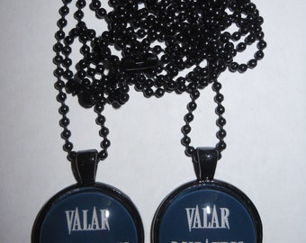 Game of Thrones inspired quote pendant necklace set - Valar Morghulis, Valar Dohaeris - friendship, couples necklace, pair, quotes sayings