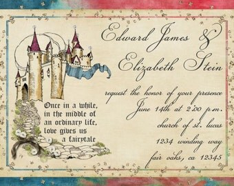 Princess Castle Fairy Tale Invitation for Wedding, Save the Date, Shower, Birthday or Quinceanera