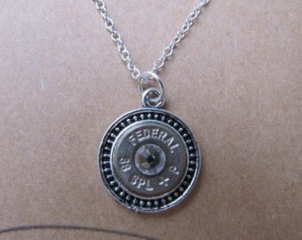 Bullet Jewelry Necklace 38 Bullet with Swarovski Crystal Accents -  2nd Amendment Jewelry - Country Jewelry - Country Wedding Jewelry