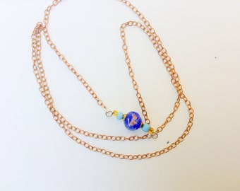 Minimalist lampwork necklace blue and gold simple feminine
