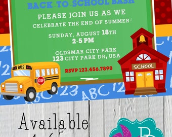 Back to School Party Invitation Printable- 4x6 or 5x7