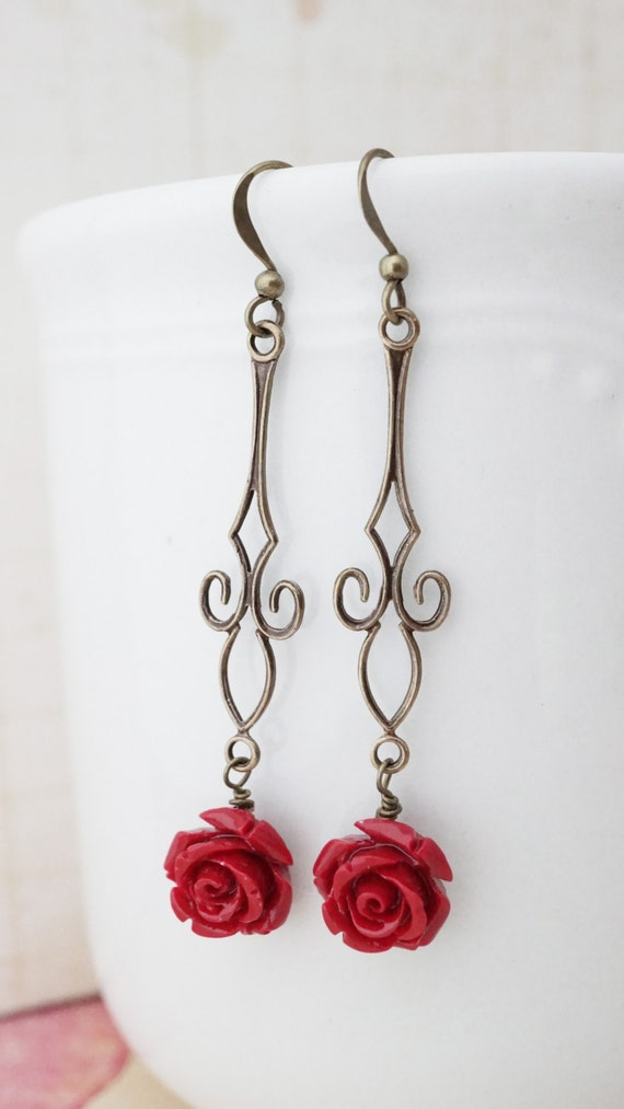 20% off Sale! Earrings, Blood Red Rose and brass Dangle Earrings. No E364