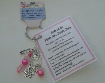MUM to BE or MOTHERHOOD 'Cheer up'  Charm Chain - baby shower, new parent, baby basket present.