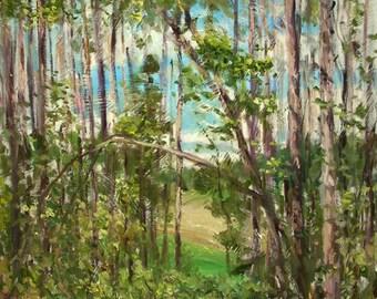 Original Landscape Oil Painting-Pines