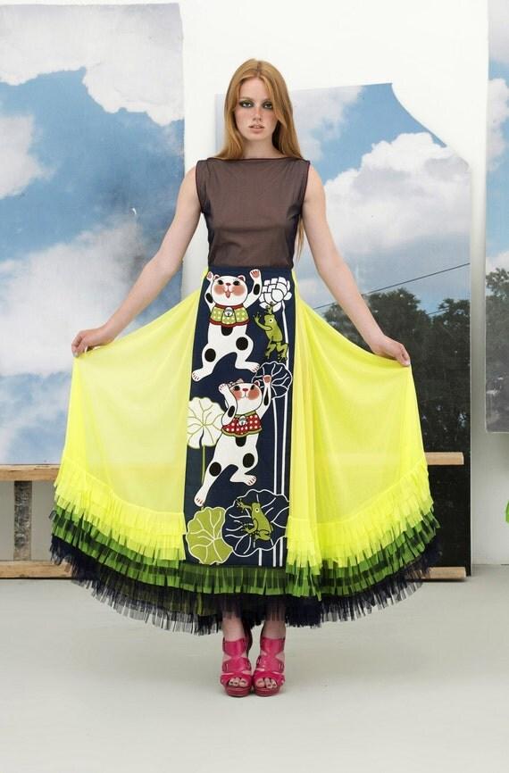 yellow maxi skirt neon tulle applique maneki neko lucky cat