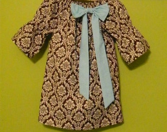 Brown and White Damask Girl's Peasant Dress with Blue Bow, Baby Girl Dress