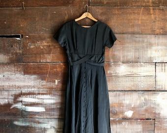 vintage 60s classic black satin dress