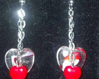 Double Red Heart Dangles