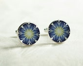 Cufflinks - Handmade Blue Snow flakes silver cuff links, Christmas silver cufflinks, Blue cuff links, Arrows motif