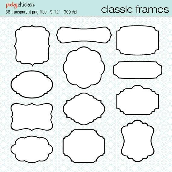36 Classic Frames black white digital printable labels clip