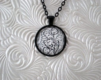 Magical doodle Black and white pendant necklace