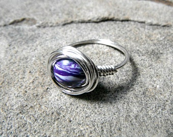 Purple Turquoise Ring, Purple Ring, Silver Ring, Turquoise Ring, Wire Wrapped Ring, Wire Wrapped Jewelry Handmade, Gemstone Ring
