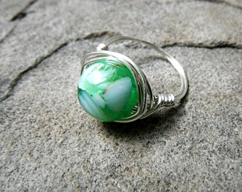 Mother of Pearl Ring, Shell Ring, Wire Wrapped Ring, Green Ring, Wire Wrapped Ring, Wire Wrapped Jewelry Handmade, Green Pearl Ring