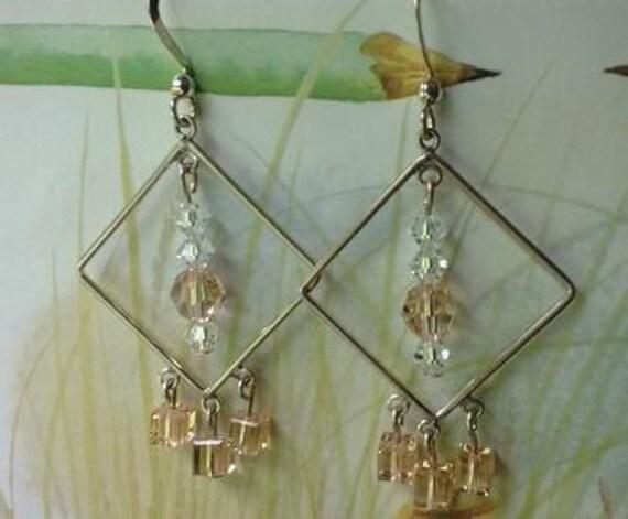 Peach Chandelier Earrings, Austrian Crystal Elements, Dangle Earrings, Long Peach Geometric Earrings
