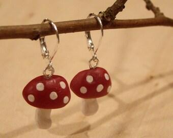 Red Wonderland Mushroom Earrings