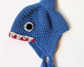 Baby shark hat, crochet animal hat, fun baby hat, earflap hat, photo prop for baby