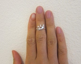 Adjustable Sterling Silver Gecko Toe Ring, Also Midi Ring, knuckle Ring.