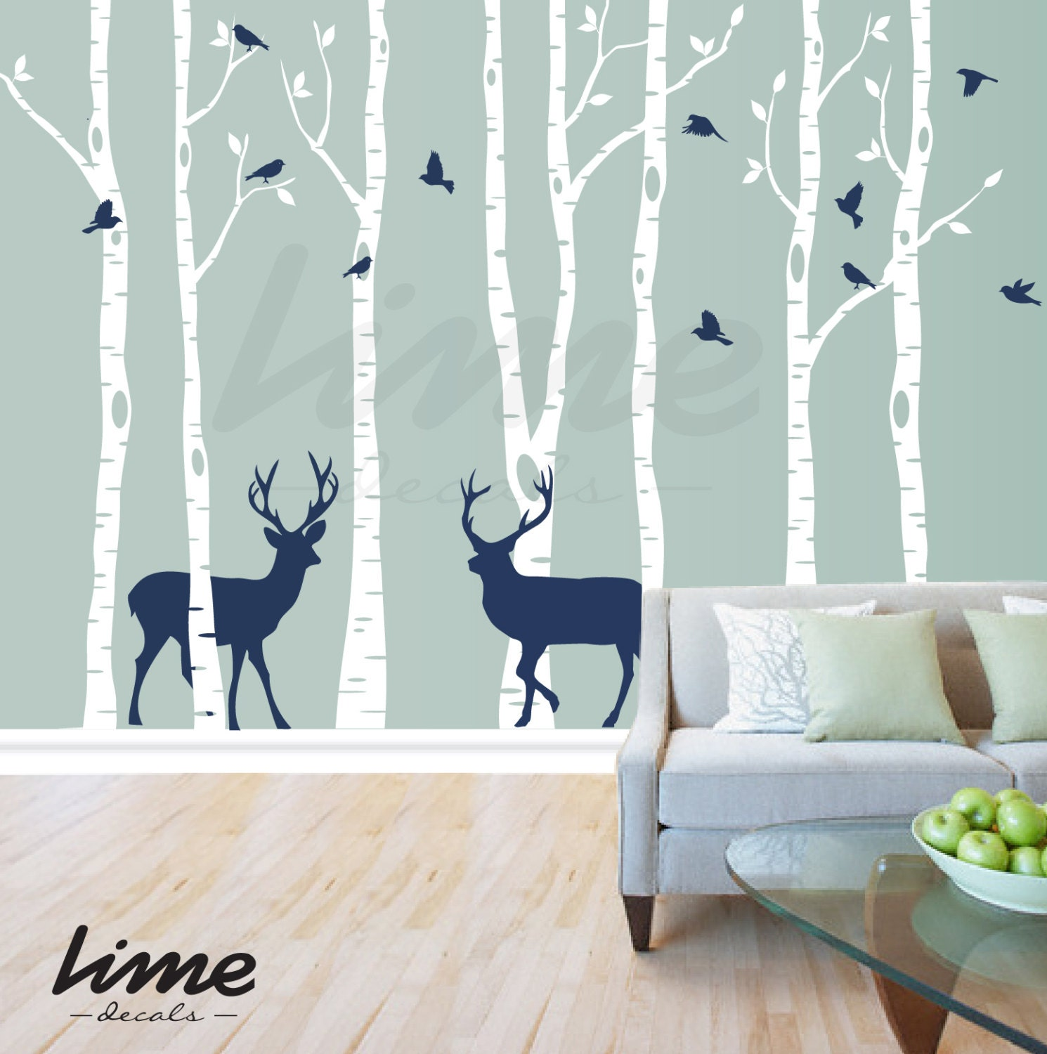 Birch tree deer wall decal forest birch trees birch trees for Create wall mural