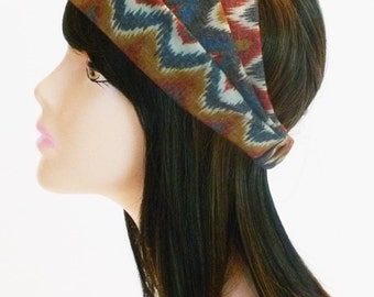 Zig Zag Flame Pattern Wide Headband Rust Denim Gold Printed Boho Head Wrap Stretch Knit Head Scarf