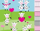 Cute Cow Clipart, Valentine's Day, Heart Clipart, Cow Clipart, Digital Papers, Digital Backgrounds, Illustration, Cute Cow Graphic, Vectors