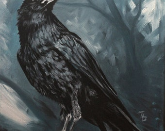 Raven painting PRINT of painted raven art, raven art print, traditional painting GICLEE PRINT, black bird, blue painting, thubakabra