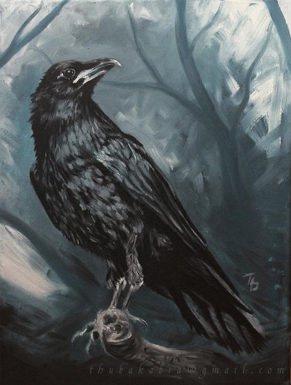 Raven Painting PRINT of Painted Raven Art Raven Art Print