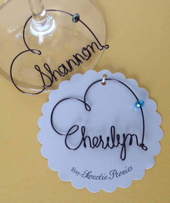 Personalized Wedding Wine Glass Charms : to Wine Glass Charms, Personalized, Wedding Favor, Wine Glass Charms ...