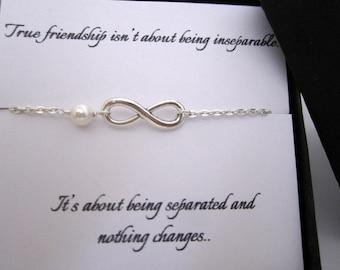 best friend christmas giftinfinity bracelet with card infinity pearl braceletgift to