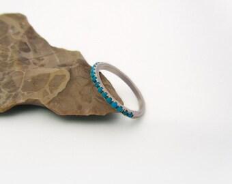 turquoise ring turquoise wedding ring half eternity ring stackable gold wedding ring - Turquoise Wedding Ring